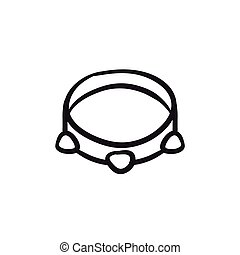 Tambourine sketch icon. - Tambourine vector sketch icon...