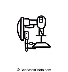 Industrial automated robot sketch icon. - Industrial...
