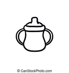 Baby bottle with handles sketch icon. - Baby bottle with...