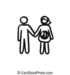 Husband with pregnant wife sketch icon. - Husband with...