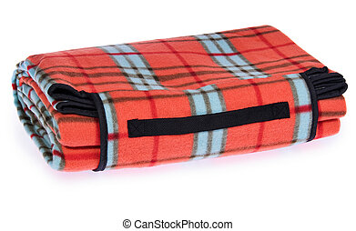 Folded up travel, picnic blanket grille with red, blue,...