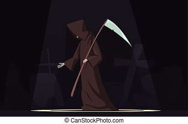 Death With Scythe Symbol Cartoon Image - Death with scythe...