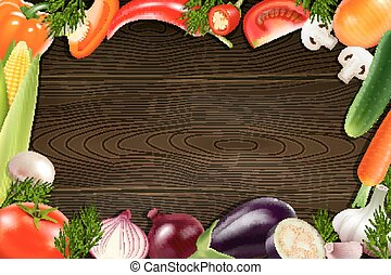 Vegetables Wooden Background - Brown wooden background with...