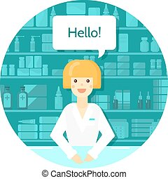 Pharmacist Round Composition - Colored flat pharmacist round...