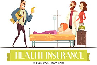 Heath Insurance Agent Work Cartoon Illustration