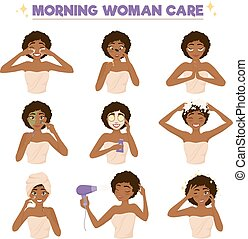 Afro American Woman Morning Routine Icon Set - Isolated...
