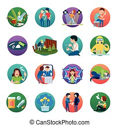 Narcotic Drugs Icons Set - Narcotic round icons collection...