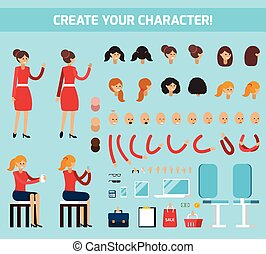 Female Character Constructor Flat Composition - Colored...
