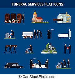 Funeral Services Flat Icon Set - Colored and isolated...