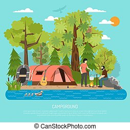 Campground Recreation Family Summer Tent Poster - Summer...