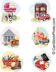 Financial Expenses Icon Set - Colored and isolated financial...