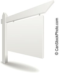 Real Estate Sign - detailed illustration of a blank white...