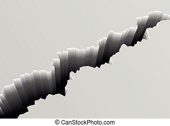 Deep Crack Background - detailed illustration of a grey...