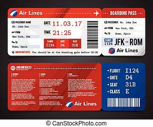 Boarding Pass Design Composition - Colored and realistic...
