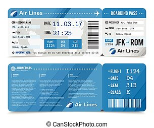 Boarding Pass Composition - Colored realistic boarding pass...