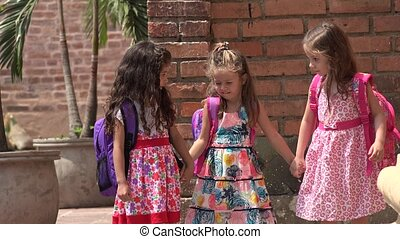 Little Girls Kids Walking  Friends
