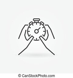 Hands holding stopwatch icon. Vector thin line stopwatch and...