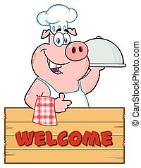 Chef Pig Cartoon Mascot Character With A Cloche Platter Over A Wooden Sign Giving A Thumb Up
