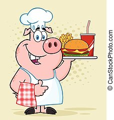 Happy Chef Pig Cartoon Mascot Character Holding A Tray Of Fast Food And Giving A Thumb Up