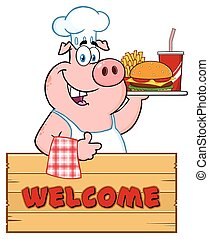 Chef Pig Cartoon Mascot Character Holding A Tray Of Fast Food Over A Wooden Sign Giving A Thumb Up
