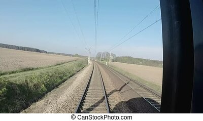 View backwards out train from Poland to the Netherlands