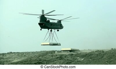 Chinook placed second part of roof. - The Boeing Vertol...