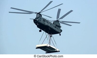 Close Up of Chinook transporter helicopter.