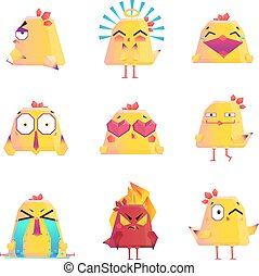 Funny Chicken Cartoon Character Icons Set - Funny chicken...