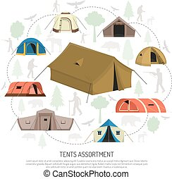 Camping Tents Selection Composition Advertisement Poster -...