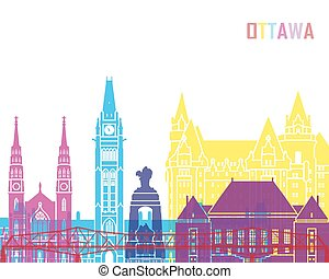 Ottawa V2 skyline pop in editable vector file