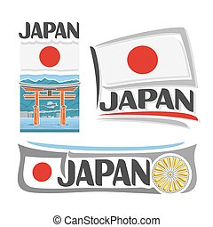 Vector logo Japan, 3 isolated images: banner torii gate in...