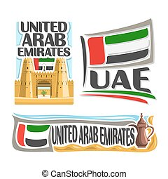 Vector logo United Arab Emirates, 3 isolated posters: banner...
