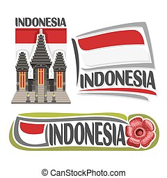Vector logo Indonesia, 3 isolated images: vertical banner...