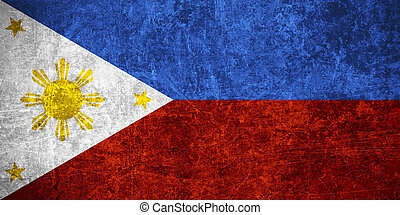 flag of Philippines or banner on scratched vintage texture