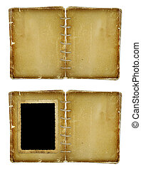 Open photoalbum for photos on the isolated white background...