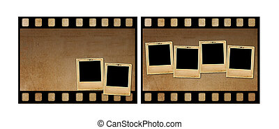 Old paper slides for photos on rusty abstract background -...