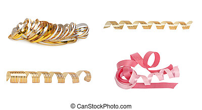 Set of pink and gold paper horizontal ribbon on the white...