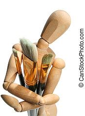 Brushs and manequin - The art object brushes and doll