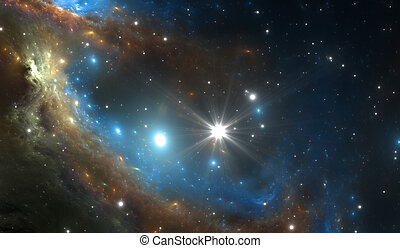 Supernova explosion with nebula in the background