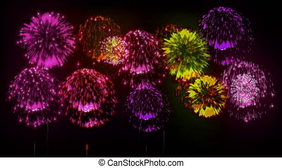 4K firework background. colorful fireckrackers at holiday night. version 1.