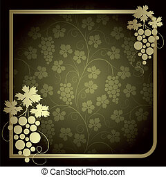 Background with vine - Green background with frame from gold...