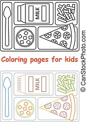 Coloring pages for kids. Lunch tray. Line style. Vector...