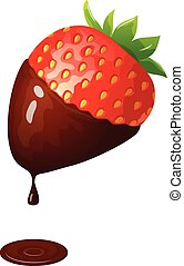 Strawberry in chocolate - Vector illustration of ripe red...