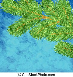 Illustration with pine branch - Vector winter illustration...