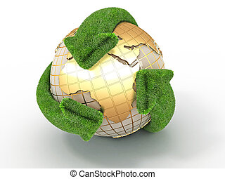 Earth with turning arrows. Recycling symbol