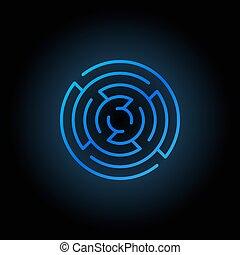 Blue round maze icon