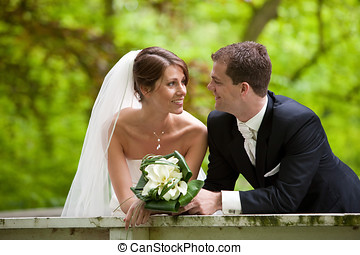 Wedding couple - Beautiful young couple getting married and...