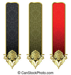 Set from gold banners
