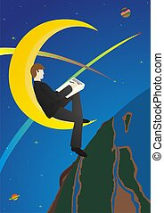 Night owl - A man in a business suit sitting at night on the...