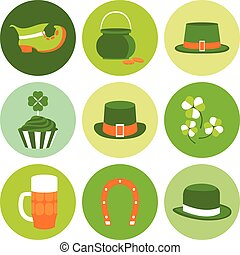 Vector modern flat color design icon on Saint Patricks Day -...